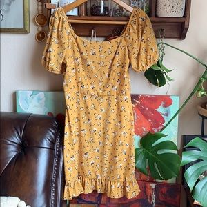 Yellow floral mini dress ruffle bottom